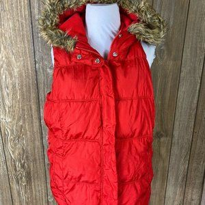 Old Navy Womens Red Zip Up Vest Fur Lined Hooded P
